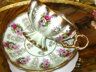 ROYAL SEALY PISTACHIO LIME & IRIDESCENT PINK ROSE SPRAY Tea Cup and Saucer