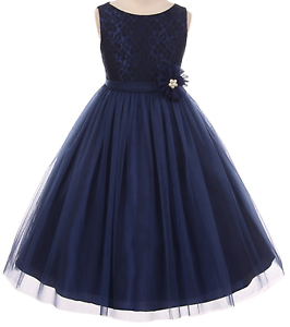 3be2fbd22a83 Floral Navy Blue Lace Tulle Flower Girl Dress Bridesmaid Wedding ...