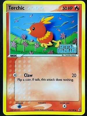 EX Crystal Guardians 65//100 EXCELLENT Stamped Rev-Holo!!! Pokemon Card Torchic