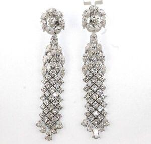 5835e5ef3ca51 Details about 29.76Ct Fine Long Diamond Mix Cut Cluster Chandelier Earrings  18K White Gold
