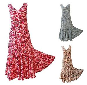 Womens-Sleeveless-Summer-Cotton-Floral-Maxi-Dress-Fit-amp-Flare-UK-Size-S-M-XL