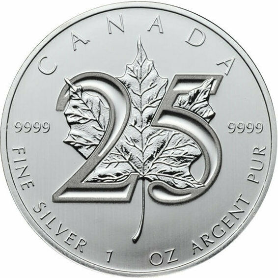 25th Anniversary 99.99% SILVER 2013 1oz Canadian Maple Leaf  RARE! UNC from Tube