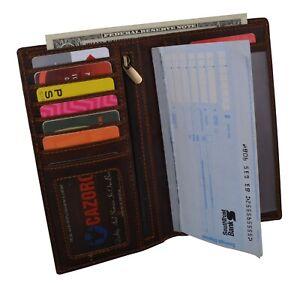 Brown-RFID-Blocking-Vintage-Hunter-Leather-Men-039-s-Checkbook-Wallet-Card-Holder