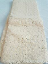 NEW Cream 100% Cotton Curve Anglaise Punch Hole Fashion Fabric Dry Lace Dress