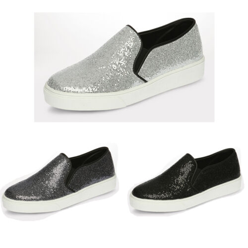 SNRD Womens Glitter Slip on Shoes Fashion Flat Loafer Tall Up Sneakers SN132
