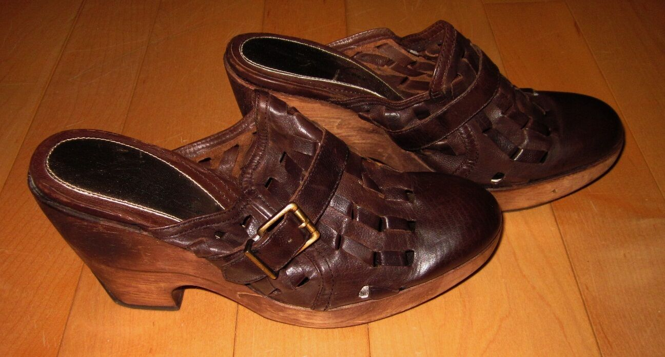 Kenneth Kenneth Kenneth Cole Womens Brown Leather Stacked Heels Slide Weave Out 8.5 Made Brazil 30616c