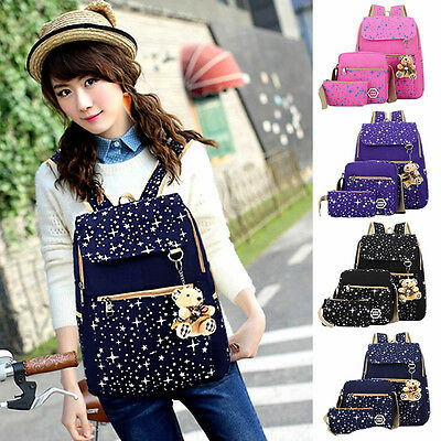 Fashion Women Girl School Shoulder Bag Backpack Rucksack Canvas Travel Bags