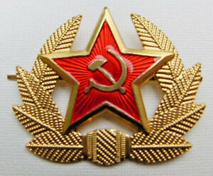 16098cae324 Soviet Russian Army Red Star Hammer   Sickle Hat Badge USSR Military ...