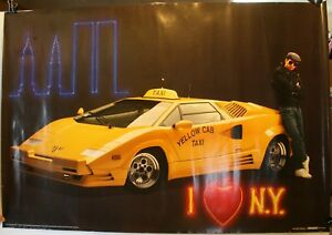competitive price 65779 1cde2 Details about 1990 I love New York Yellow Cab Taxi 27 x 39