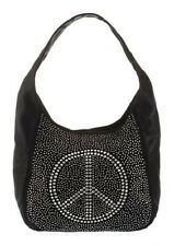 L.Credi Tasche schwarz mit Strass und Peace- Symbol Handtasche NEU