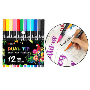 12 colori Dual Brush Penne Colorate Arte Marcatori Fine & Pennello Punta