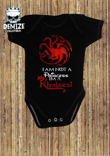 GAME OF THRONES Baby Gilet je ne suis pas une princesse Im un Khaleesi Baby Grow rompe Cadeau