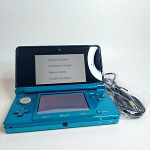 Nintendo 3DS Console Aqua Blue LOOK Free Same Day Shipping + Charger