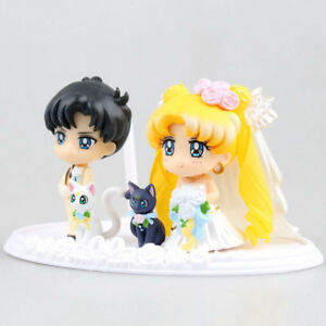 New-Happy-Wedding-Petit-Chara-Pretty-Guardian-Sailor-Moon-Luna-PVC-Figure-No-Box