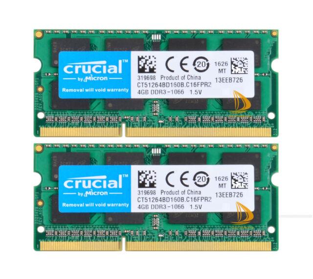 Crucial 2x 4GB 2RX8 PC3-8500S DDR3 1066Mhz SODIMM Laptop Memory RAM 204Pin 1.5V