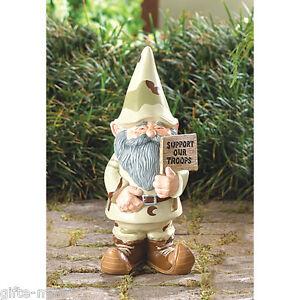 Suporte Nossas Tropas Militar Camuflagem Gnome Estátua Arte Gramado Externo Exército Usmc Ebay