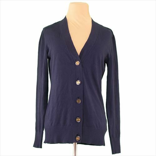 Tory Burch Cardigan Navy gold Cotton  SP Woman Authentic Used T7918