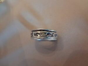 #131--VINTAGE STERLING SILVER SPINNER RING-925--SIZE-7--VERY COOL-