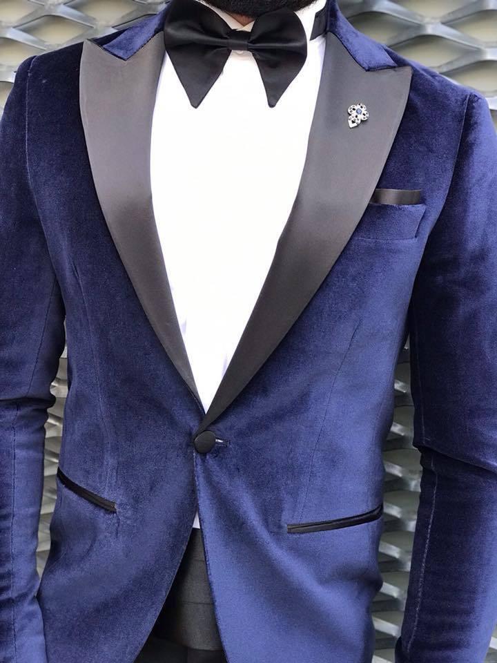 Designer Blau Samt Anzug Smoking Hochzeitanzug Herrenanzug Tailliert Slim Fit 44