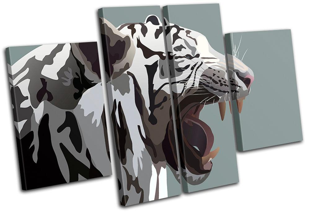 bianca Tiger Animals MULTI TELA TELA TELA parete arte foto stampa 85c9a3