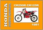 HONDA Parts Manual CR250R CR125R CR250 CR125 1981 Replacement Spares Catalog