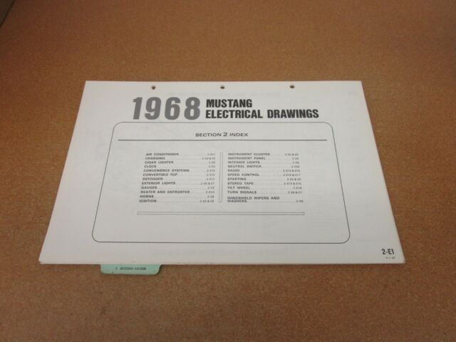 1968 Ford Mustang Wiring Diagram Sheet Schematics Service Manual