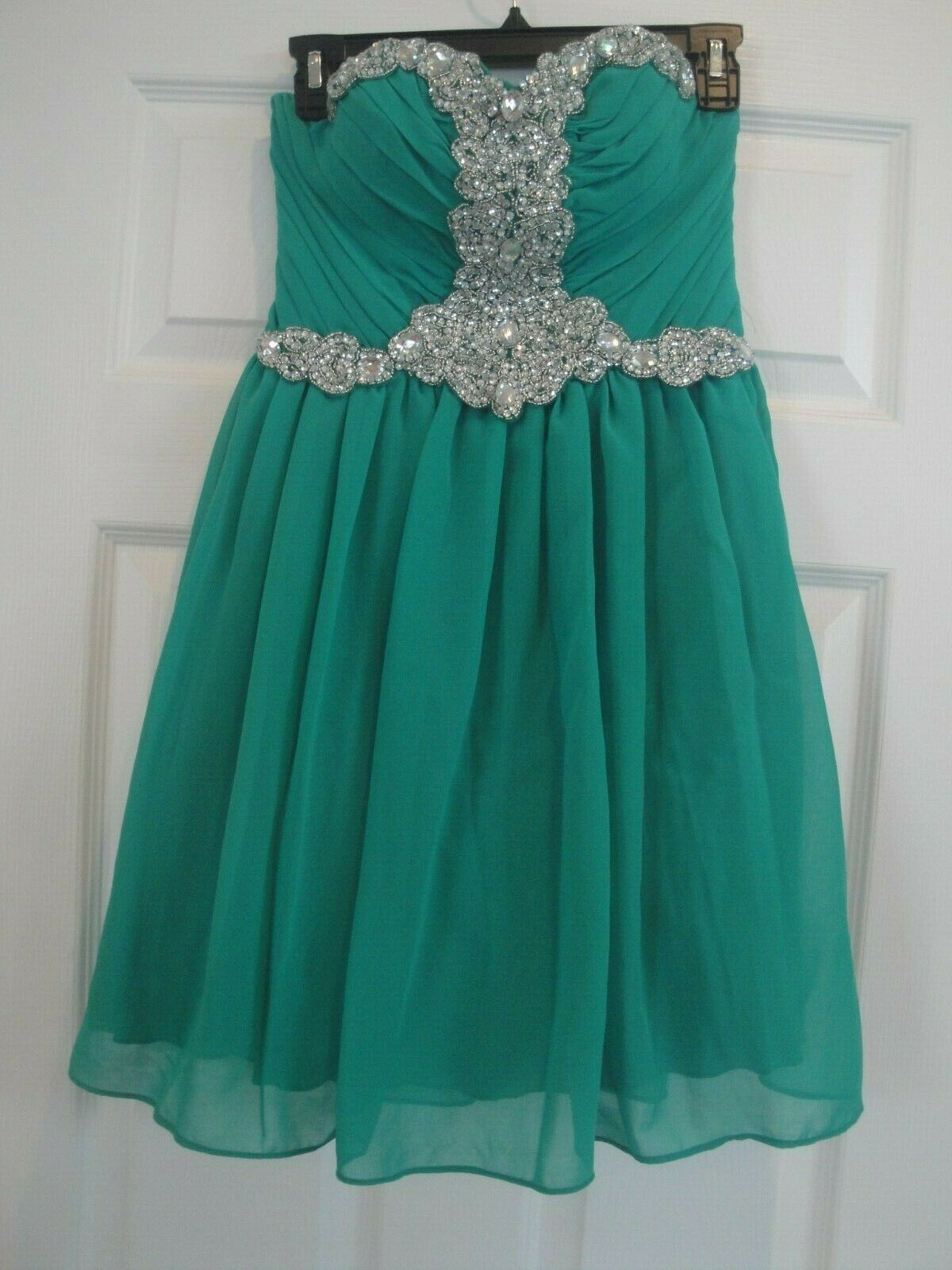 City Triangles Juniors Strapless Special Occasion Green Dress Size: 3