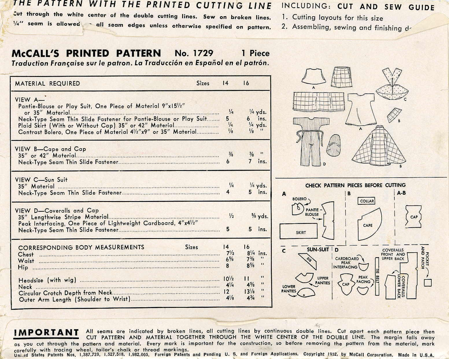 """Vintage Doll Clothing PATTERN 1729 for 16/"""" Toni dolls Coveralls Playsuit Sunsuit"""