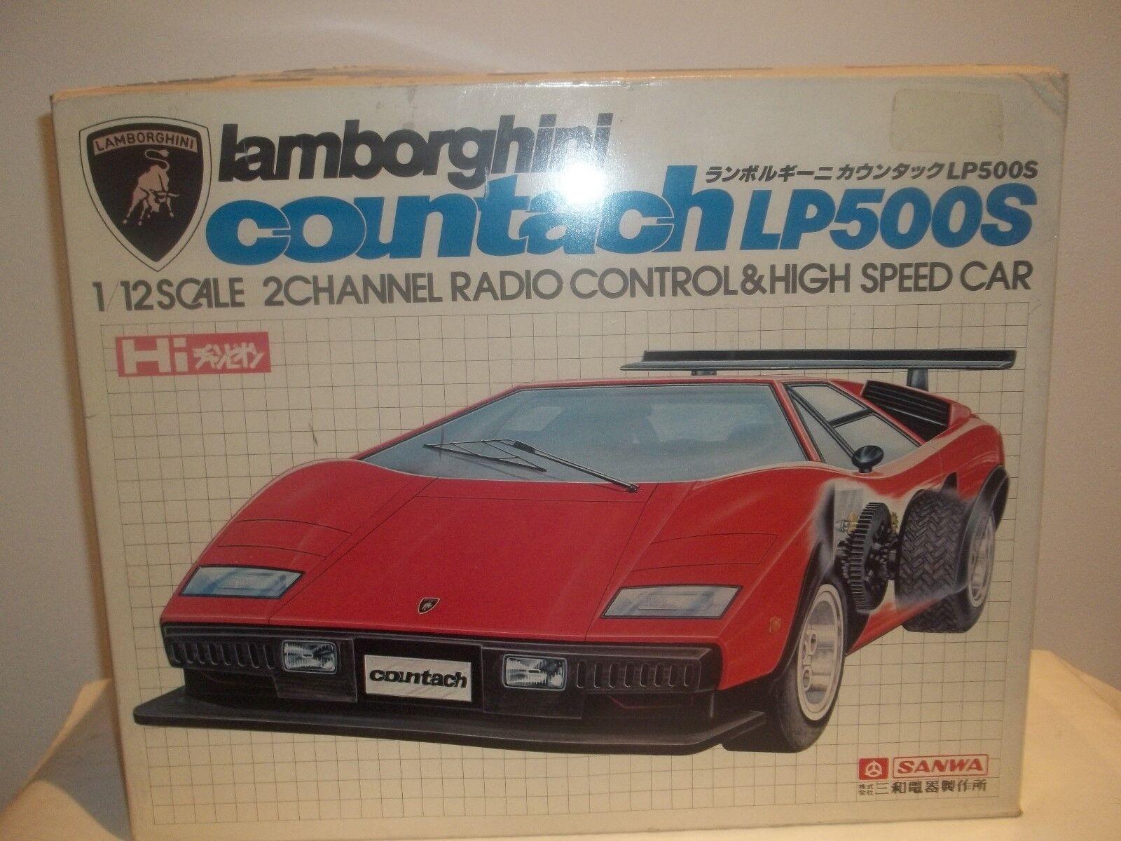 Vintage Sällsynt Sanwa R C Lamborghini LP500S 1 12 Ny