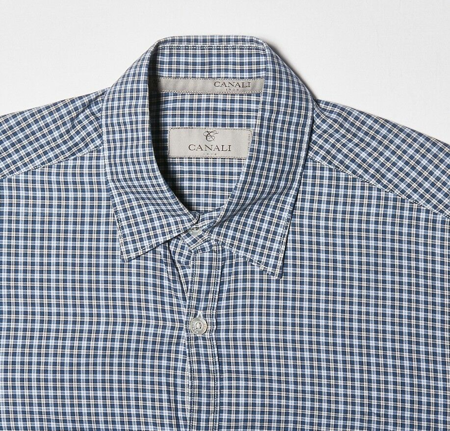 Mens CANALI Shirt S in Navy bluee Sky White Plaid Casual Cotton