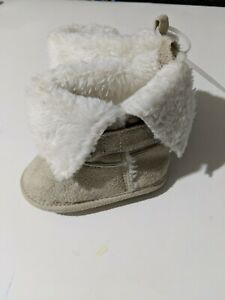 Infants baby girl tan faux suede furry