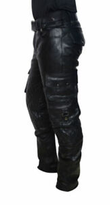 Hombre-Cuero-Real-panel-Acolchado-Pantalones-cargo-Pantalones-de-pantalones-de-Interes-Gay-bluf