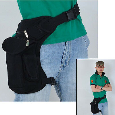 Men Black Canvas Briefcases Cycling Riding Fanny Waist Pack Thigh Drop Leg Bag