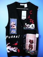 Cat Lovers Vest Jcpenny Sz S Hand Embroidered