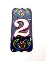 Decorative House Address Number Two Ceramic Tile Handmade Hand Painted