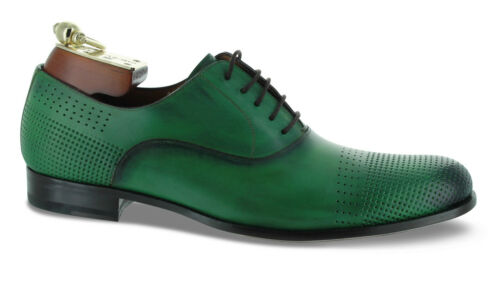 "Mezlan /""Bonet/"" Custom Green Perforated Oxford Shoes"