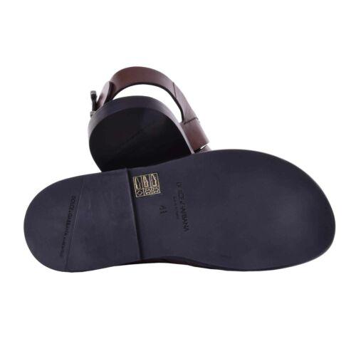 DOLCE & GABBANA Leather Strap Sandals Shoes VESUVIO w. Logo Buckle Brown 08069