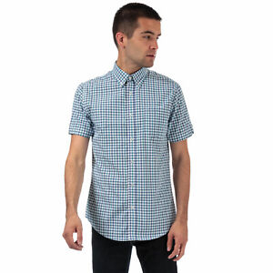 Mens-Ben-Sherman-House-Checked-Short-Sleeve-Shirt-In-Blue-Short-Sleeve-Button