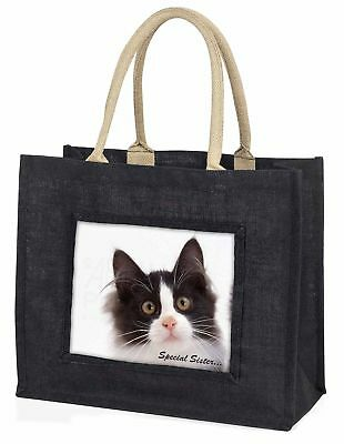 schwarz & weiß Kätzchen Special Sister große Einkaufstasche