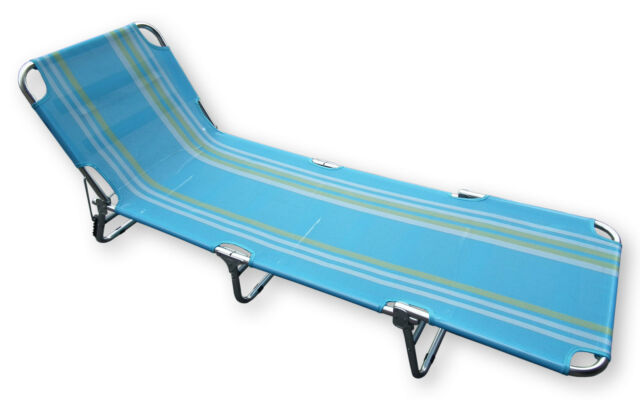 Blue Striped Textoline Folding Reclining Go Flat Sun Lounger Collapsible Tan Bed