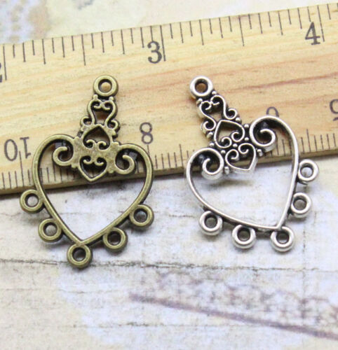 Free shipping 15//45pcs Alloy delicate beautiful loving heart connector