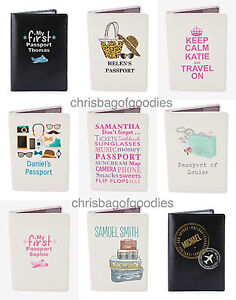 716828e71ffc Details about PERSONALISED Leather Passport Cover Holder Protector Wallet  Travel UK European