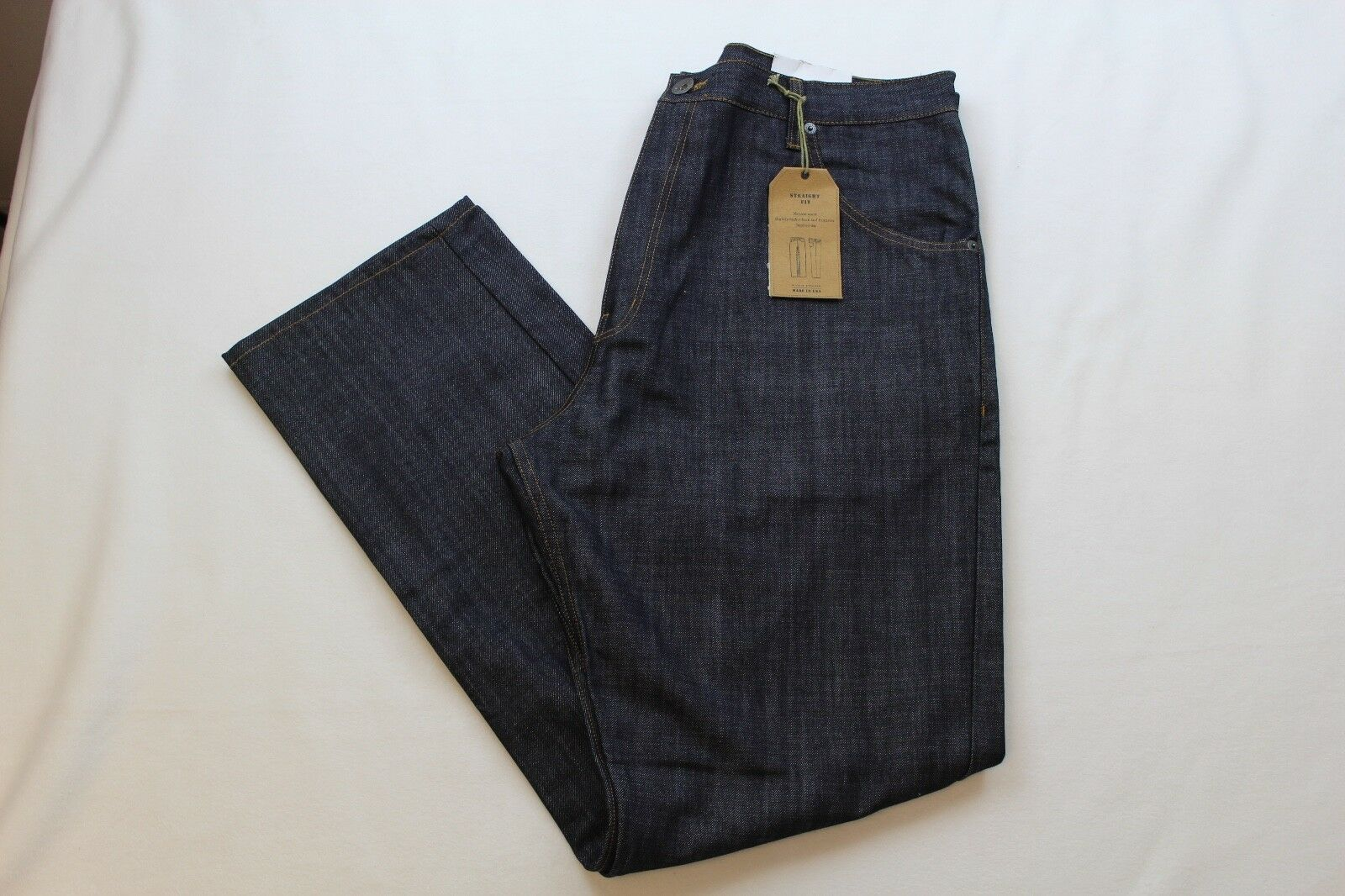WILLIS & WALKER MENS DENIM STRAIGHT FIT TWIST INDIGO SIZE 36X38 ZIP FLY NWT