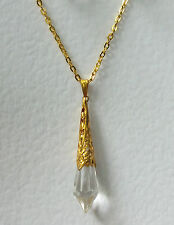 BEAUTIFUL CLEAR GLASS ART DECO STYLE PENDANT GOLD PLATED FILIGREE DL