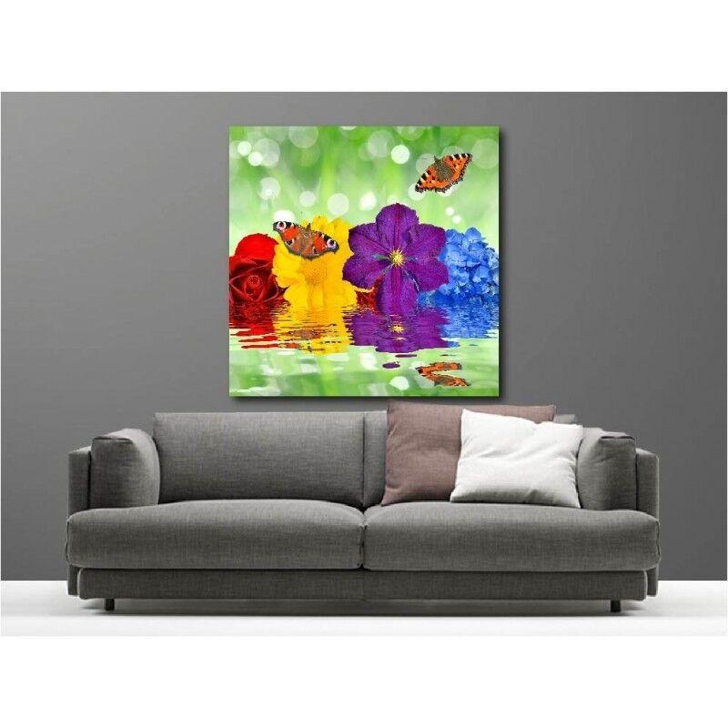 Gemälde Stoff Deko Quadratisch blueme Schmetterling 121889944