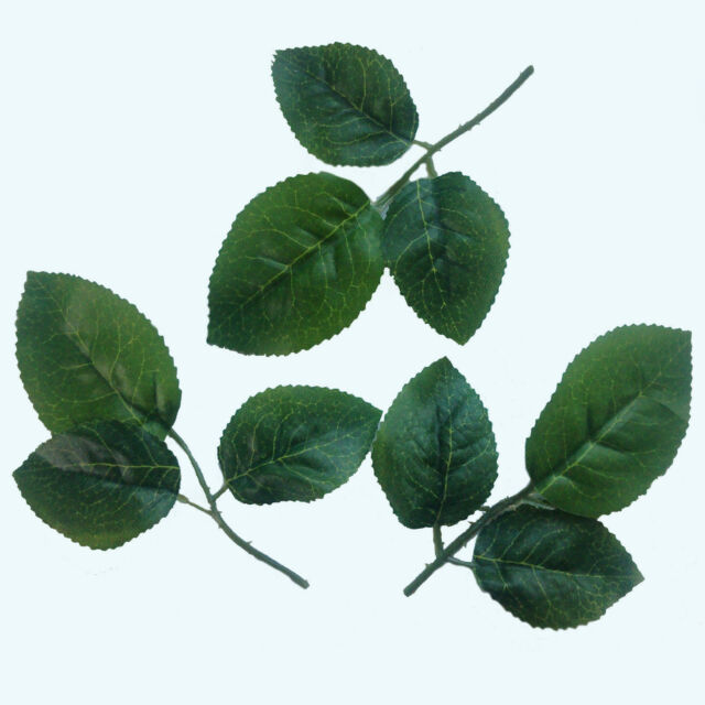 Artificial silk plain green NEW Rose leaves great for wedding craft buttonhole