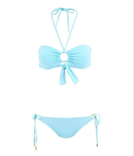 Melissa Odabash Janeiro AZZURRO Set di Bikini a Fascia Taglia 40 RRP .00