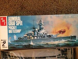 Vintage Admiral Graf Spee 1:700 Scale Model Kit by AMT Matchbox 1979 Lesney