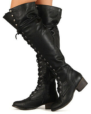 Breckelle Alabama-12 New Women Leatherette Military Lace Up Knee High Boot