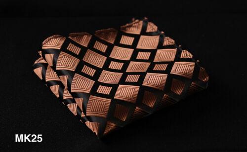 MK Check Floral Stripe Men Silk Satin Pocket Square Hanky Wedding Handkerchief